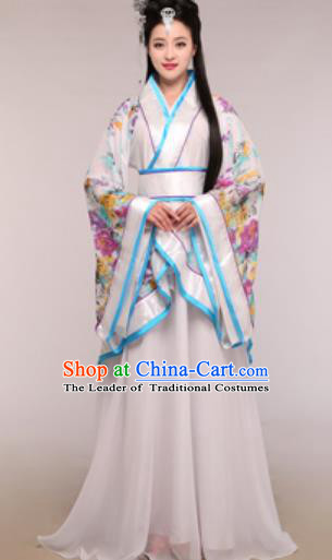 Traditional Chinese Ancient Palace Lady Costume Han Dynasty Princess White Hanfu Dress for Women