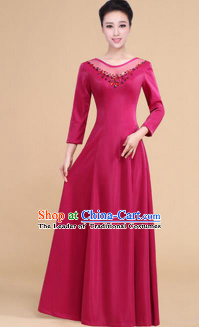Top Grade Chorus Group Choir Wine Red Full Dress, Compere Stage Performance Modern Dance Costume for Women