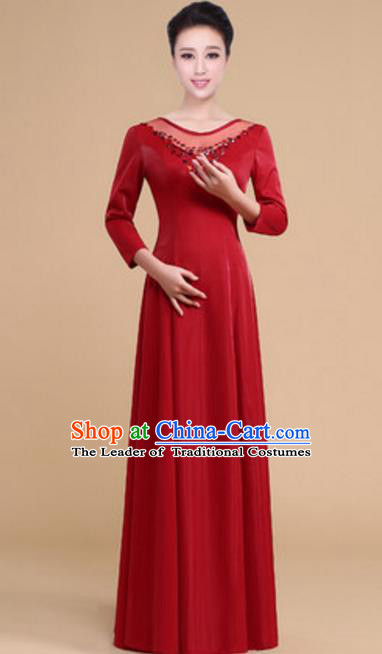 Top Grade Chorus Group Choir Purplish Red Full Dress, Compere Stage Performance Modern Dance Costume for Women