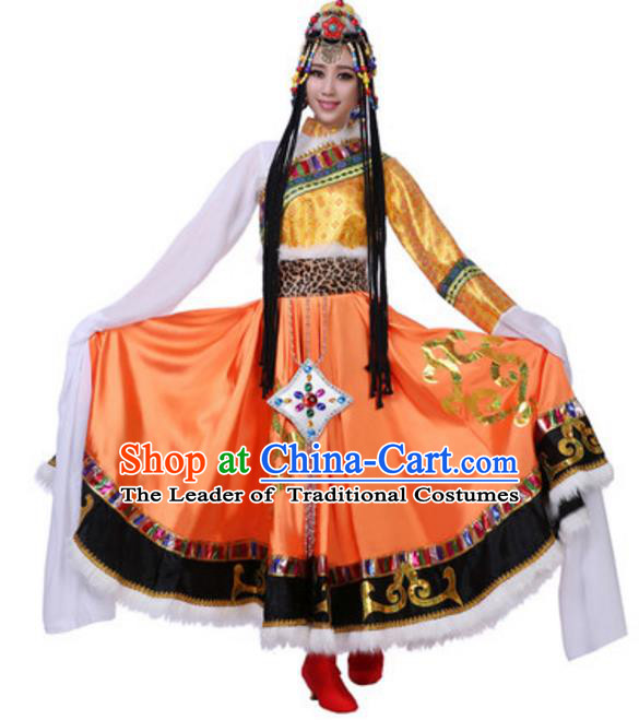 Traditional Chinese Zang Ethnic Dress, Tibetan Minority Folk Dance Costume and Headwear for Women