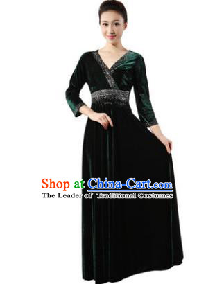 Traditional Chorus Singing Group Modern Dance Costume, Compere Classical Dance Atrovirens Velvet Dress for Women
