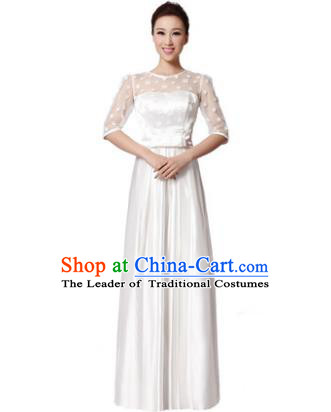 Top Grade Chorus Singing Group Modern Dance White Dress, Compere Classical Dance Costume for Women