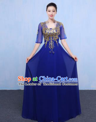 Top Grade Chorus Singing Group Modern Dance Embroidered Royalblue Dress, Compere Classical Dance Costume for Women