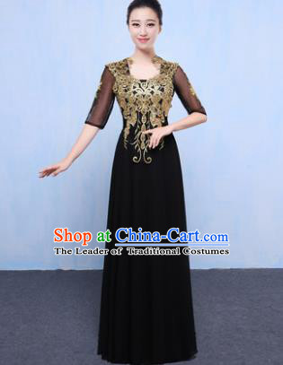 Top Grade Chorus Singing Group Modern Dance Embroidered Black Dress, Compere Classical Dance Costume for Women