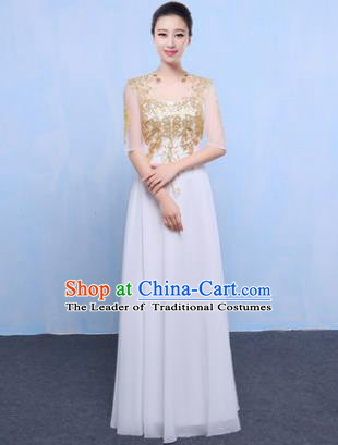 Top Grade Chorus Singing Group Modern Dance Embroidered White Dress, Compere Classical Dance Costume for Women