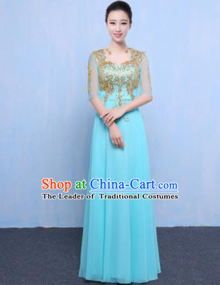 Top Grade Chorus Singing Group Modern Dance Embroidered Blue Dress, Compere Classical Dance Costume for Women