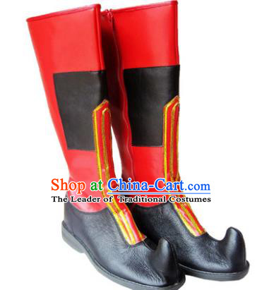 Chinese Traditional Uyghur Dance Red Shoes, Uigurian Minority Folk Dance Boots for Men