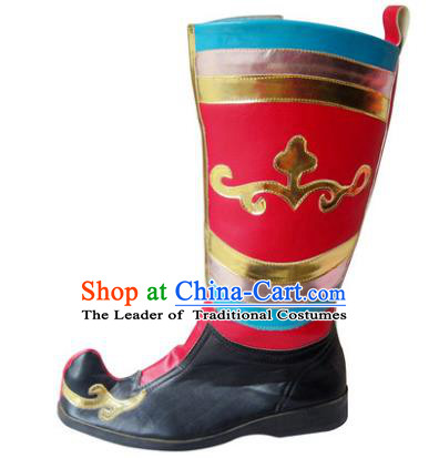 Chinese Traditional Uyghur Dance Shoes, Uigurian Minority Folk Dance Red Boots for Men