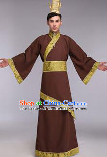 Traditional Chinese Ancient Scholar Costume Han Dynasty Minister Hanfu Brown Curving-front Robe for Men