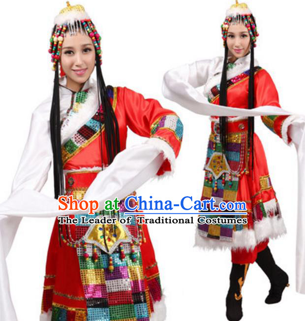 Traditional Chinese Zang Nationality Water Sleeve Dress, Tibetan Minority Folk Dance Ethnic Costume and Headwear for Women