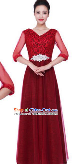 Top Grade Chorus Singing Group Modern Dance Lace Dress, Compere Classical Dance Costume for Women