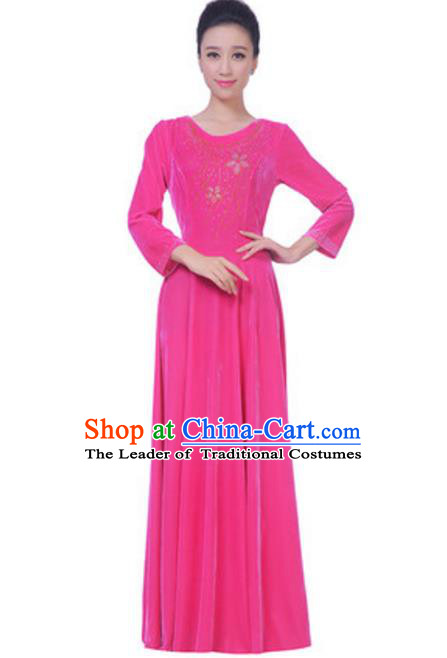 Top Grade Chorus Singing Group Pink Velvet Dress, Compere Classical Dance Costume for Women