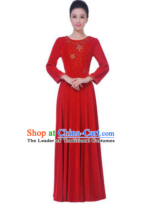 Top Grade Chorus Singing Group Red Velvet Dress, Compere Classical Dance Costume for Women