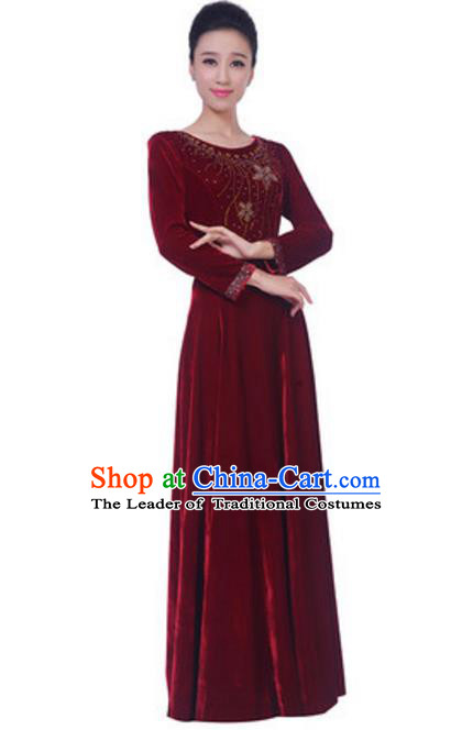 Top Grade Chorus Singing Group Wine Red Velvet Dress, Compere Classical Dance Costume for Women