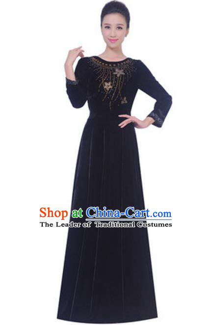 Top Grade Chorus Singing Group Black Velvet Dress, Compere Classical Dance Costume for Women