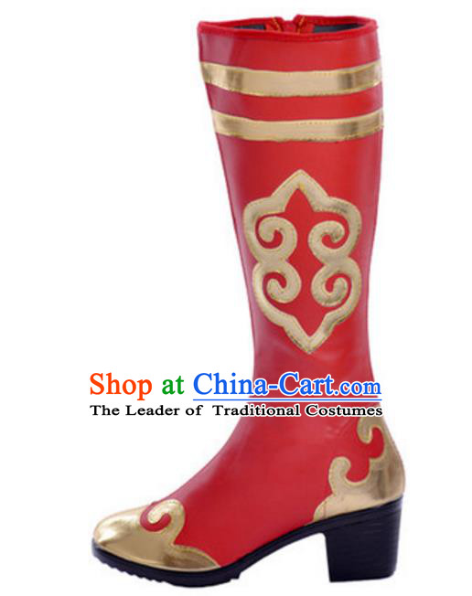 Chinese Traditional Mongol Dance Shoes, Uigurian Minority Folk Dance Red Boots for Women