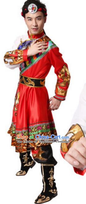 Traditional Chinese Zang Nationality Clothing, Tibetan Minority Folk Dance Ethnic Costume for Men