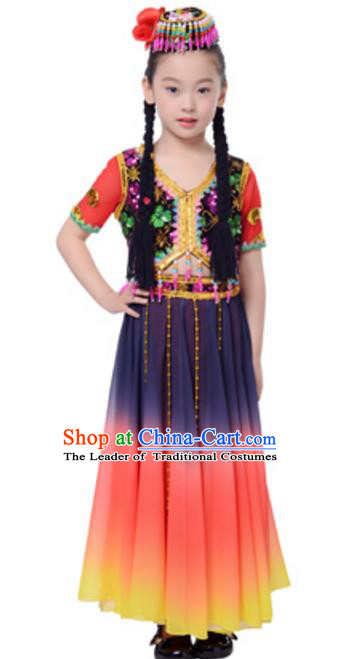 Traditional Chinese Uyghur Ethnic Dance Clothing, Uigurian Minority Folk Dance Costume and Headwear for Kids