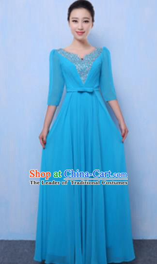 Top Grade Chorus Singing Group Blue Full Dress, Compere Classical Dance Costume for Women