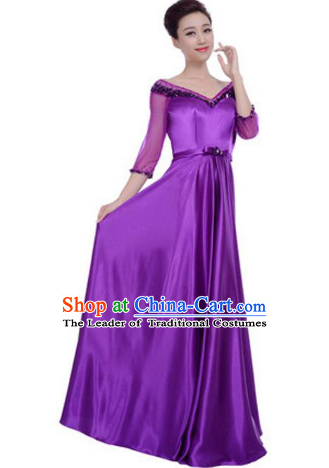 Top Grade Chorus Singing Group Purple Full Dress, Compere Modern Dance Costume for Women