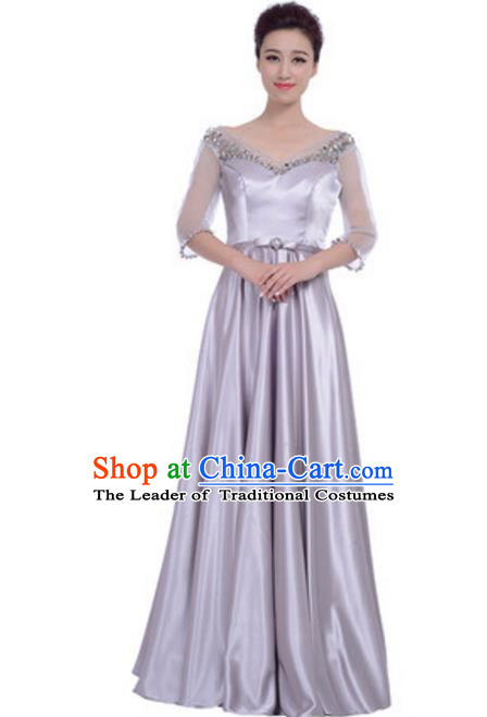 Top Grade Chorus Singing Group Grey Full Dress, Compere Modern Dance Costume for Women