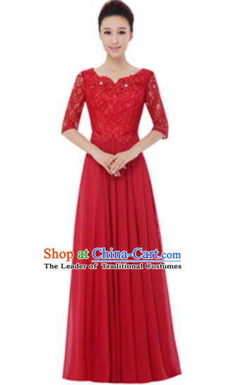 Top Grade Chorus Singing Group Red Lace Full Dress, Compere Modern Dance Costume for Women