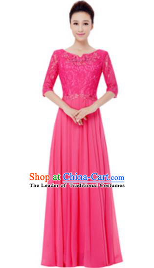 Top Grade Chorus Singing Group Pink Lace Full Dress, Compere Modern Dance Costume for Women