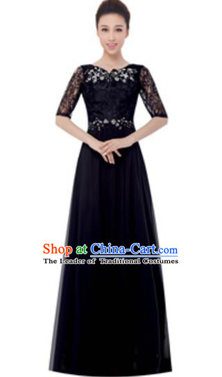 Top Grade Chorus Singing Group Black Lace Full Dress, Compere Modern Dance Costume for Women
