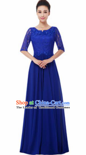 Top Grade Chorus Singing Group Royalblue Lace Full Dress, Compere Modern Dance Costume for Women