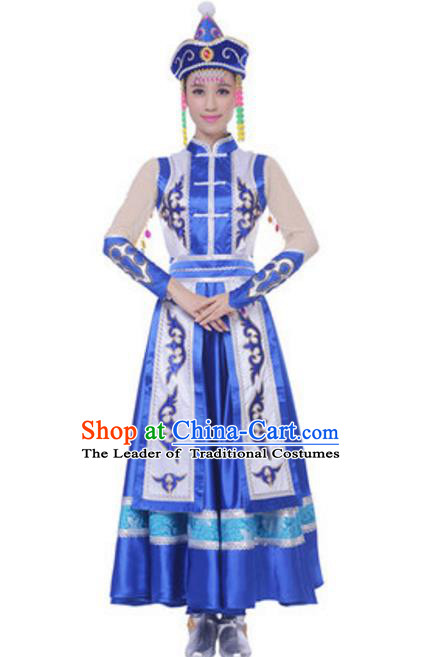 Traditional Chinese Mongol Ethnic Blue Dress, Mongolian Minority Folk Dance Costume and Headwear for Women