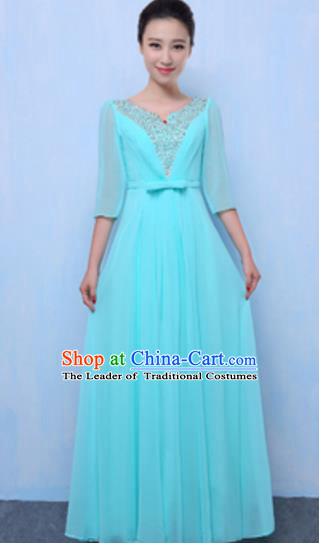 Top Grade Chorus Singing Group Light Blue Full Dress, Compere Classical Dance Costume for Women