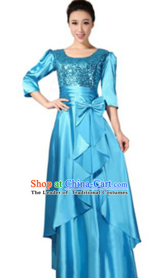 Top Grade Chorus Singing Group Blue Sequins Full Dress, Compere Classical Dance Costume for Women