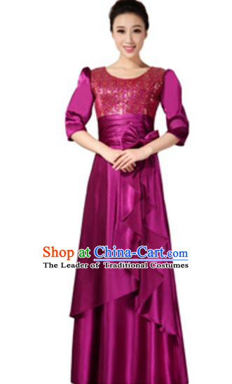 Top Grade Chorus Singing Group Amaranth Sequins Full Dress, Compere Classical Dance Costume for Women