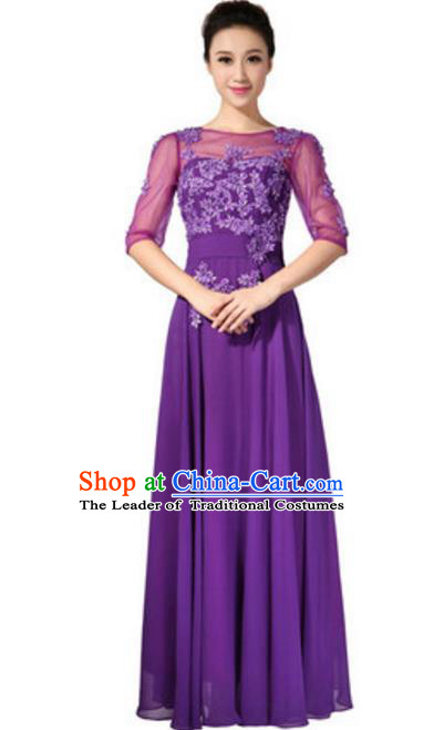 Top Grade Chorus Singing Group Embroidered Lace Full Dress, Compere Classical Dance Purple Costume for Women