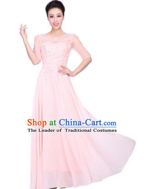 Top Grade Chorus Singing Group Embroidered Lace Full Dress, Compere Classical Dance Pink Costume for Women