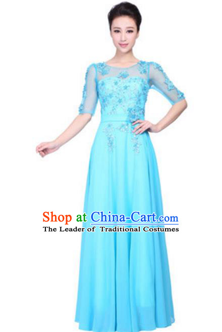 Top Grade Chorus Singing Group Embroidered Lace Full Dress, Compere Classical Dance Blue Costume for Women