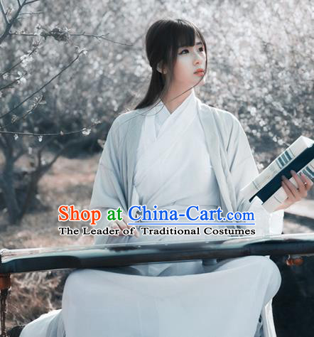 Chinese Ancient Nobility Lady Hanfu Dress Jin Dynasty Hermit Swordsman Costumes for Women