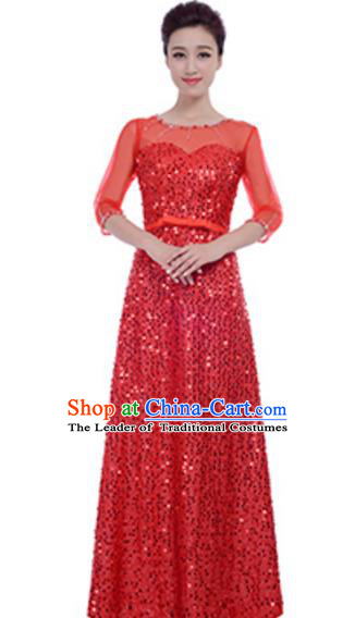 Top Grade Chorus Group Choir Red Sequins Full Dress, Compere Stage Performance Modern Dance Costume for Women