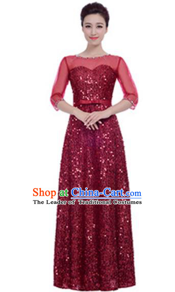 Top Grade Chorus Group Choir Wine Red Sequins Full Dress, Compere Stage Performance Modern Dance Costume for Women
