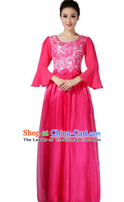 Top Grade Chorus Group Choir Mandarin Sleeve Rosy Full Dress, Compere Stage Performance Modern Dance Costume for Women