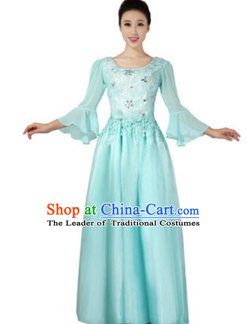 Top Grade Chorus Group Choir Mandarin Sleeve Blue Full Dress, Compere Stage Performance Modern Dance Costume for Women