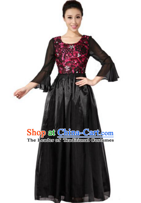 Top Grade Chorus Group Choir Mandarin Sleeve Black Full Dress, Compere Stage Performance Modern Dance Costume for Women