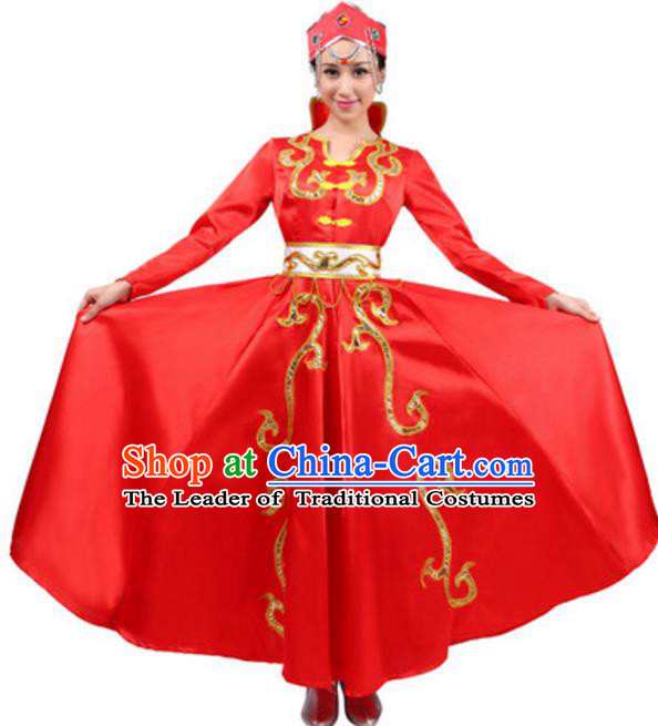 Traditional Chinese Mongolian Ethnic Dance Red Dress, China Mongols Minority Folk Dance Costume and Headwear for Women
