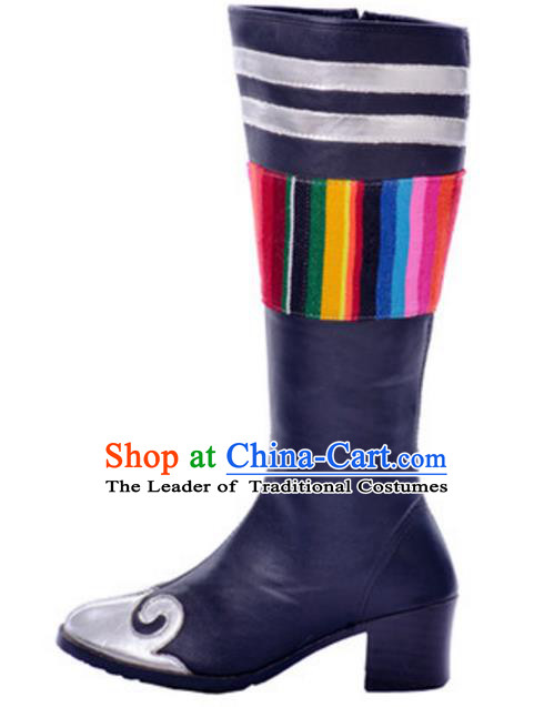 Chinese Traditional Mongol Dance Shoes, Uigurian Minority Folk Dance Long Boots for Women