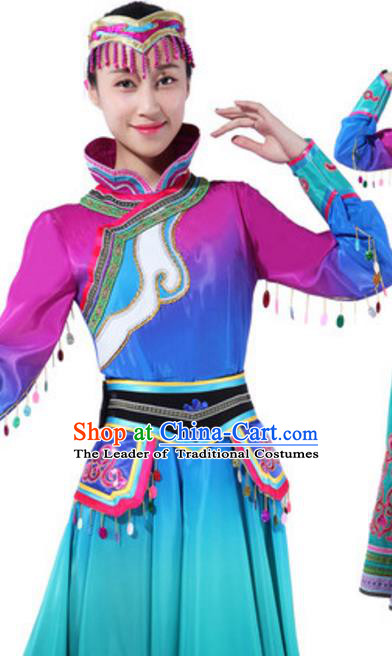 Traditional Chinese Mongolian Ethnic Dance Green Dress, China Mongols Minority Folk Dance Costume and Headwear for Women