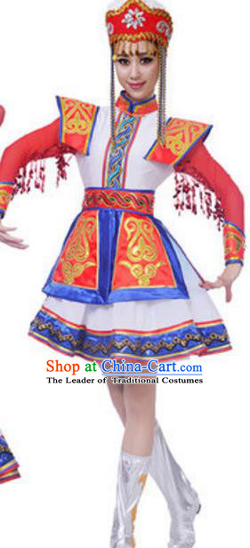 Traditional Chinese Mongolian Princess Ethnic Clothing, China Mongols Minority Folk Dance Costume for Women