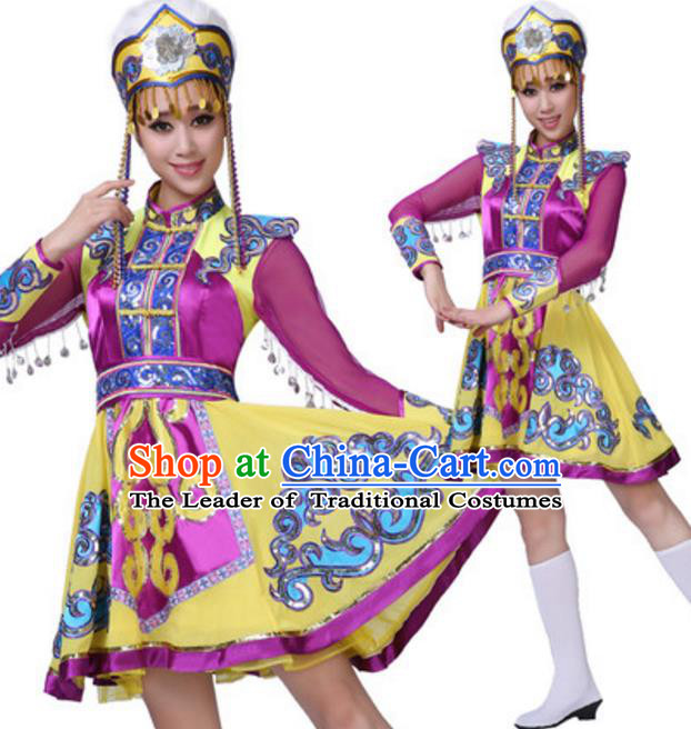 Traditional Chinese Mongols Ethnic Clothing, China Mongolian Minority Folk Dance Costume and Headwear for Women