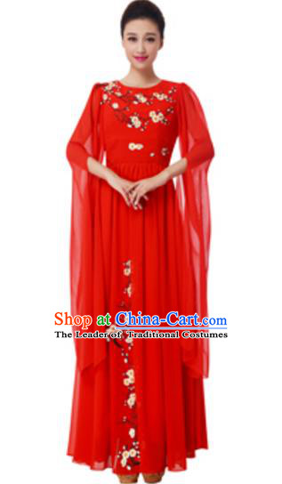 Top Grade Chorus Group Choir Embroidered Red Full Dress, Compere Stage Performance Modern Dance Costume for Women