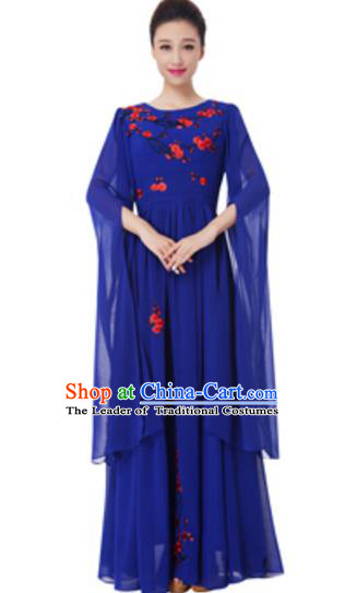 Top Grade Chorus Group Choir Embroidered Royalblue Full Dress, Compere Stage Performance Modern Dance Costume for Women