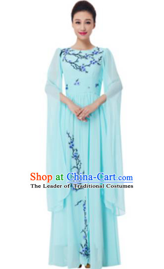 Top Grade Chorus Group Choir Embroidered Green Full Dress, Compere Stage Performance Modern Dance Costume for Women